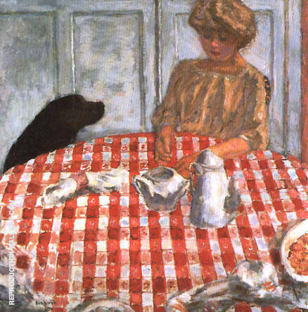 The Red Checkered Tablecloth By Pierre Bonnard