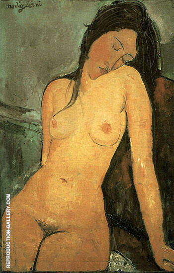 Seated Nude 1916 By Amedeo Modigliani - Oil Paintings & Art Reproductions - Reproduction Gallery