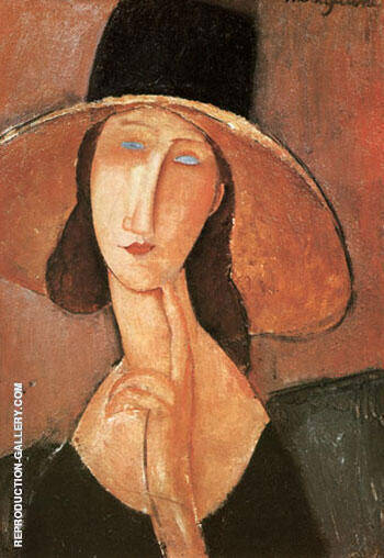 Jeanne in Straw Hat 1917 By Amedeo Modigliani