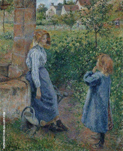 Woman and Child at Well 1882 By Camille Pissarro