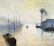 River Early Morning 1888 By Camille Pissarro