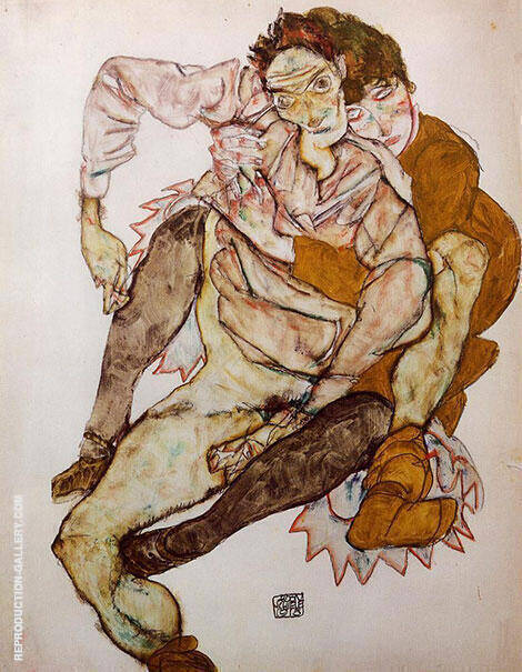 Embrace 1915 By Egon Schiele Replica Paintings on Canvas - Reproduction Gallery