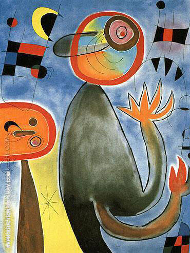 Ladders Cross the Blue Sky in a Wheel of Fire 1953 By Joan Miro - Oil Paintings & Art Reproductions - Reproduction Gallery