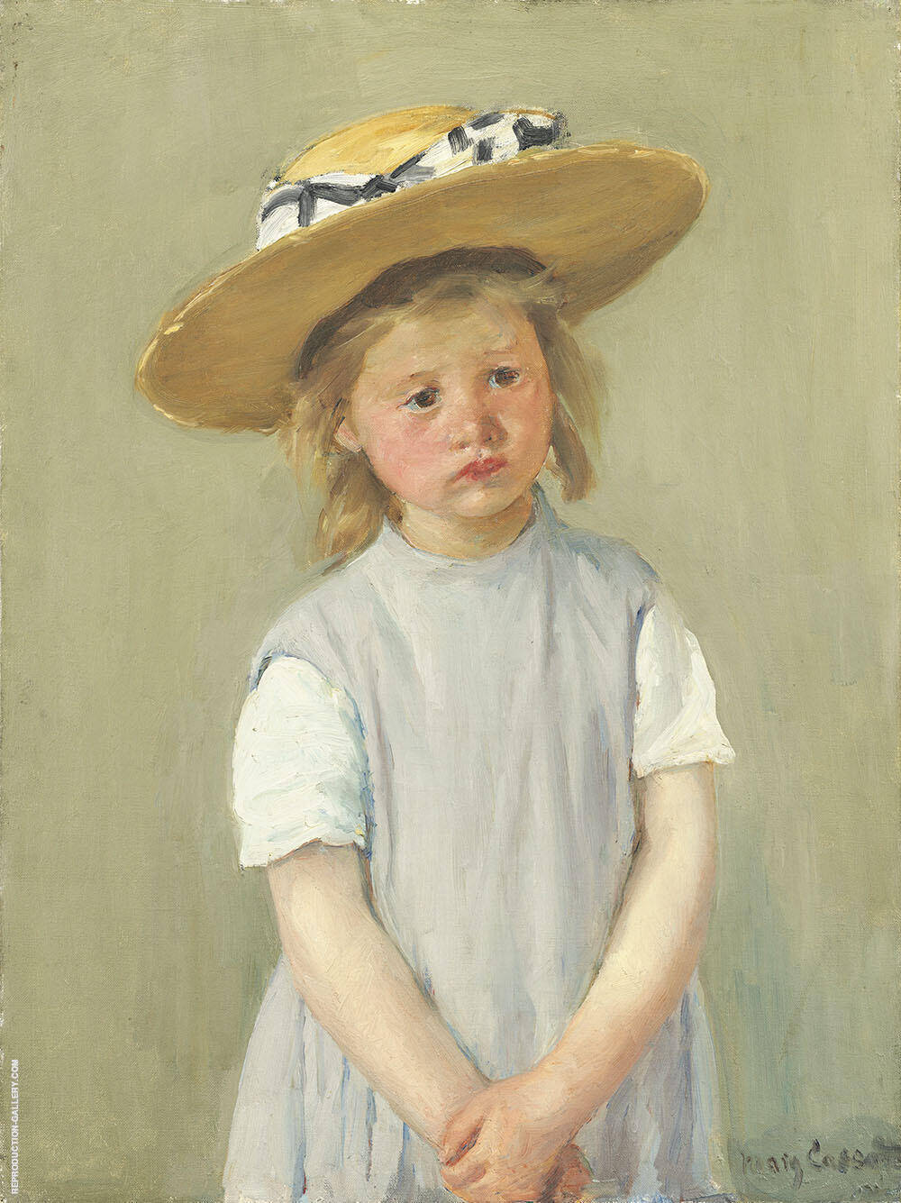 Child in Straw Hat By Mary Cassatt Replica Paintings on Canvas - Reproduction Gallery