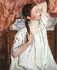 Girl Arranging Her Hair By Mary Cassatt