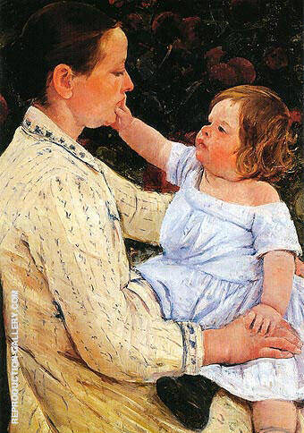 The Childs Caress 1890 By Mary Cassatt Replica Paintings on Canvas - Reproduction Gallery