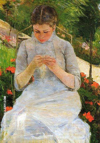 Reproduction of Young Woman Sewing 1883 by Mary Cassatt | Oil Painting Replica On CanvasReproduction Gallery