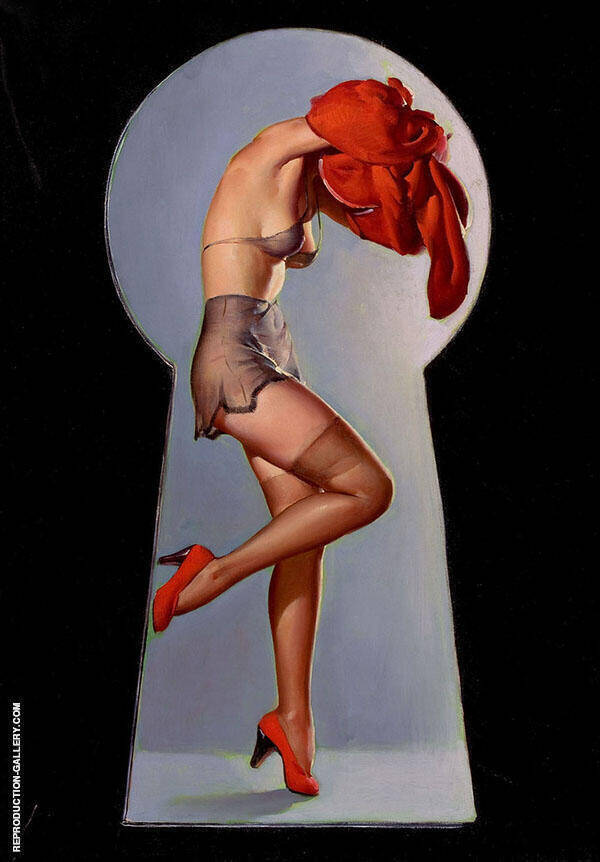 Gil Elvgren Peek a View 1940 Painting By Pin Ups - Reproduction Gallery