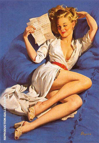 Gil Elvgren He Thinks Im Too Good to Be True 1947 By Pin Ups - Oil Paintings & Art Reproductions - Reproduction Gallery