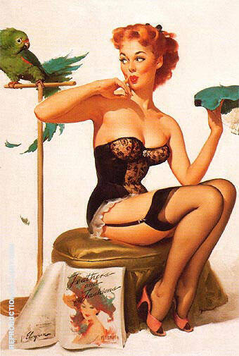 Gil Elvgren No You Don't 1956 By Pin Ups - Oil Paintings & Art Reproductions - Reproduction Gallery