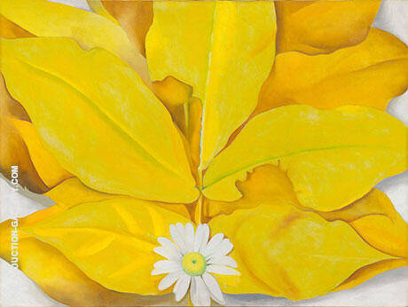 Yellow Hickory Leaves with Daisy 1928 Painting By Georgia O'Keeffe