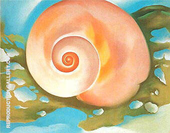 Pink Shell with Seaweed c1937 By Georgia O'Keeffe - Oil Paintings & Art Reproductions - Reproduction Gallery