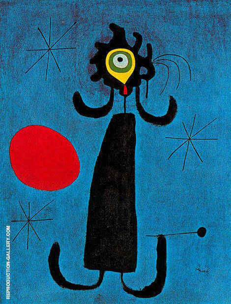 Joan Miro Woman in front of the Sun Painting By Joan Miro