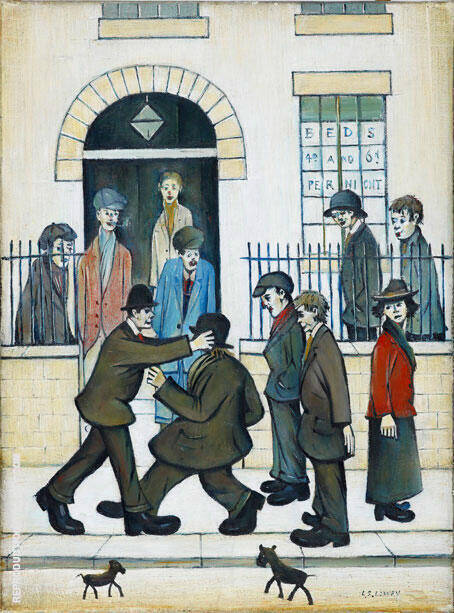 The Fight Painting By L-S-Lowry - Reproduction Gallery