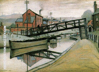 Barges on a Canal 1941 By L-S-Lowry - Oil Paintings & Art Reproductions - Reproduction Gallery