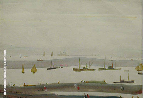 The Estuary 1956 By L-S-Lowry