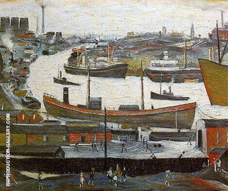River Wear at Sunderland 1961 Painting By L-S-Lowry - Reproduction Gallery