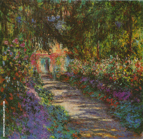 Garden Path Giverny 1902 by Claude Monet | Oil Painting Reproduction Replica On Canvas - Reproduction Gallery