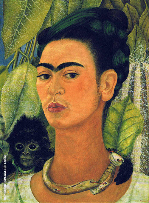 Self Portrait with Monkey 1938 By Frida Kahlo
