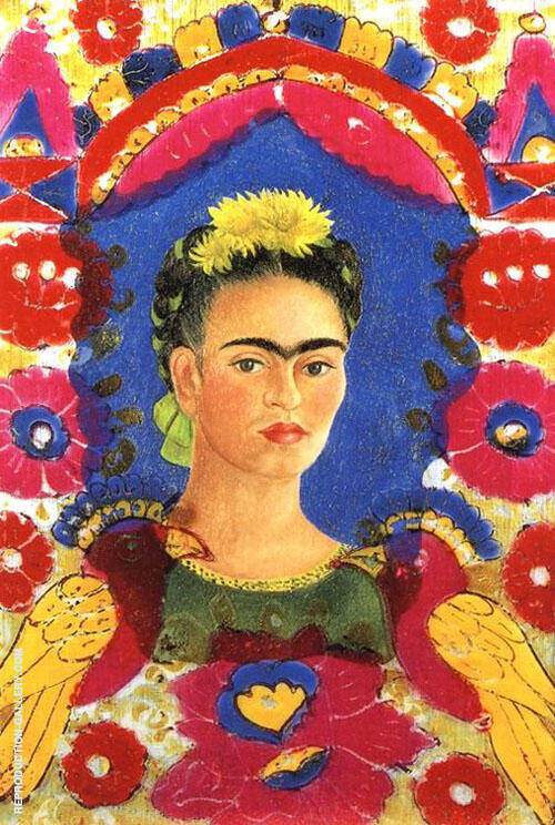 Self Portrait The Frame 1938 By Frida Kahlo