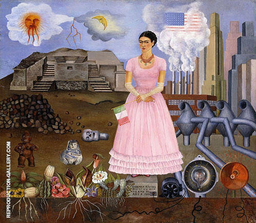 Borderline between Mexico and USA Painting By Frida Kahlo