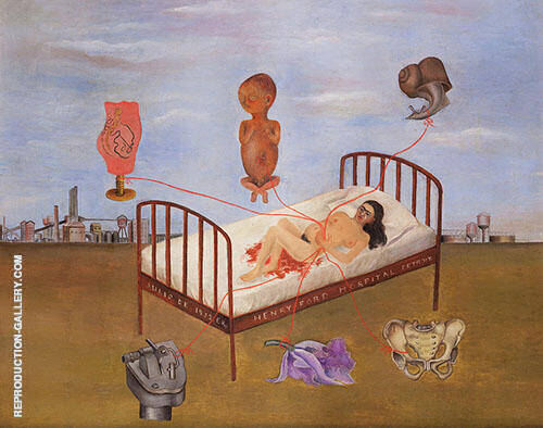 Henry Ford Hospital 1932 By Frida Kahlo Replica Paintings on Canvas - Reproduction Gallery