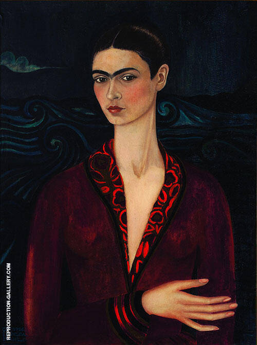 Self Portrait in a Velvet Dress 1926 By Frida Kahlo Replica Paintings on Canvas - Reproduction Gallery