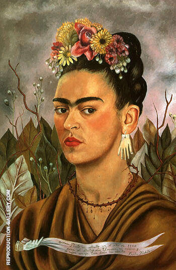 Self Portrait Dedicated to Dr Eloesser 1940 By Frida Kahlo - Oil Paintings & Art Reproductions - Reproduction Gallery