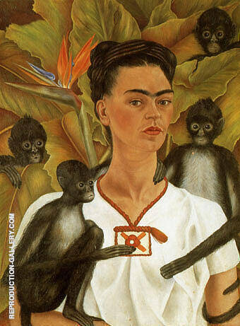Reproduction of Self Portrait with Monkeys 1943 by Frida Kahlo | Oil Painting Replica On CanvasReproduction Gallery
