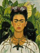 Self Portrait with Necklace of Thorns 1940 By Frida Kahlo