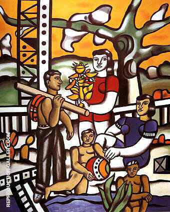 The Campers 1954 By Fernand Leger - Oil Paintings & Art Reproductions - Reproduction Gallery