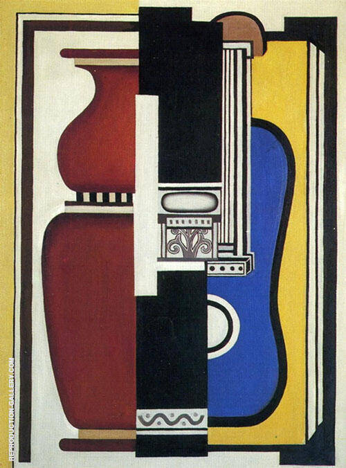 Blue Guitar and Vase 1926 Painting By Fernand Leger - Reproduction Gallery