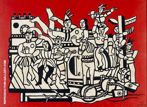 The Great Parade with Red Background 1953 Painting By Fernand Leger