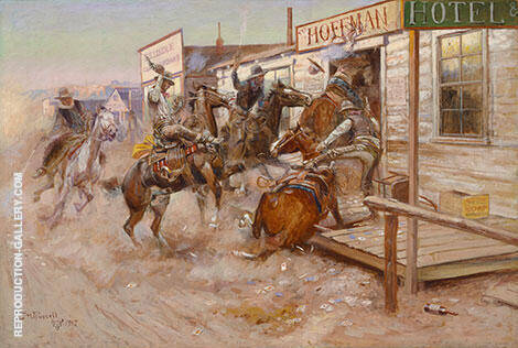 In Without Knocking By Charles M Russell - Oil Paintings & Art Reproductions - Reproduction Gallery