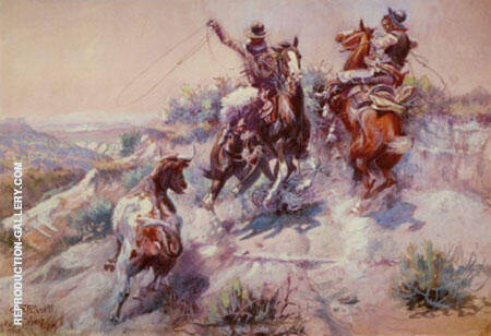 The Mad Cow By Charles M Russell - Oil Paintings & Art Reproductions - Reproduction Gallery