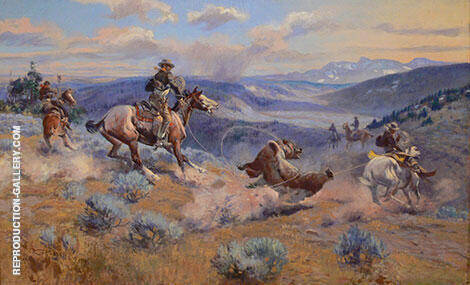 Loops and Swift Horses are Surer than Lead By Charles M Russell - Oil Paintings & Art Reproductions - Reproduction Gallery