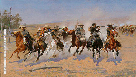 Reproduction of A Dash For Timber by Frederic Remington | Oil Painting Replica On CanvasReproduction Gallery