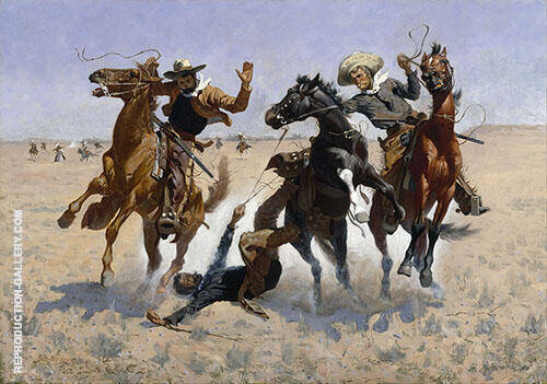 Aiding a Comrade By Frederic Remington - Oil Paintings & Art Reproductions - Reproduction Gallery