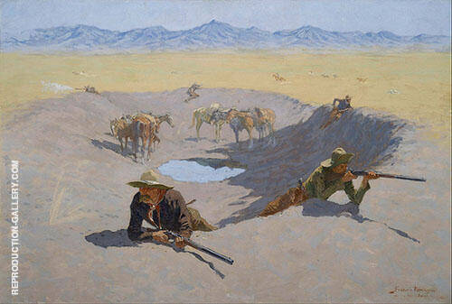 The Fight for the Waterhole Painting By Frederic Remington