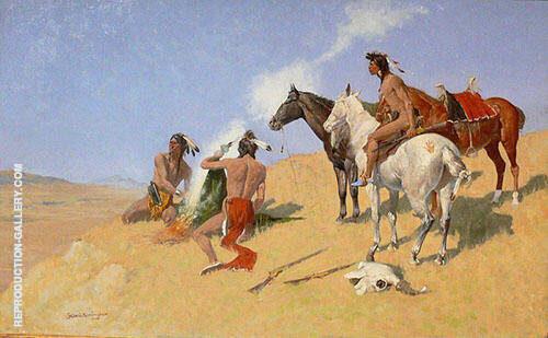 The Smoke Signal 1905 Painting By Frederic Remington