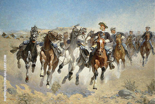 Dismounted The Fourth Troopers Moving Led Horses By Frederic Remington