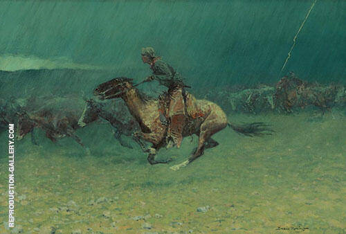 The Stampede Painting By Frederic Remington - Reproduction Gallery