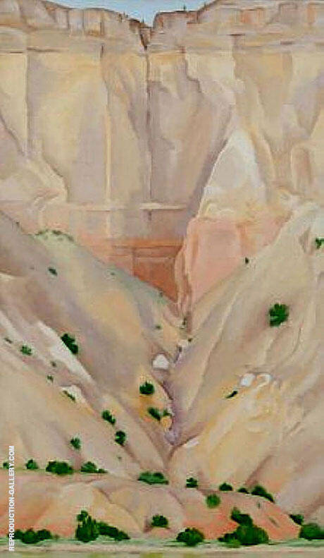 Cliffs Beyond Abiquia, Dry Waterfall 1943 Painting By Georgia O'Keeffe