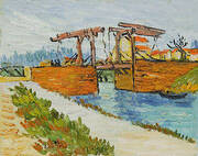 Langlois Bridge at Arles with Road Alongside the Canal By Vincent van Gogh