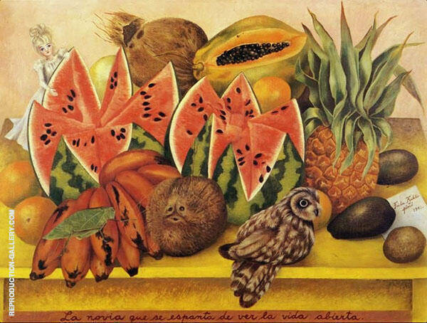 The Bride Frightened at Seeing Life Opened Painting By Frida Kahlo