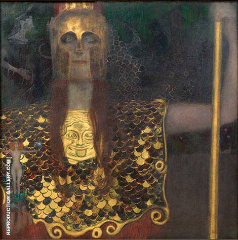 Pallas Athene 1898 By Gustav Klimt Replica Paintings on Canvas - Reproduction Gallery
