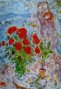 Lovers with Roses By Marc Chagall