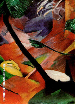 Deer in the Woods II Painting By Franz Marc - Reproduction Gallery