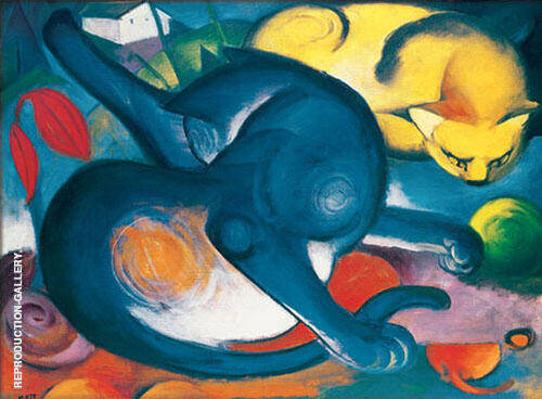 Two Cats 1912 Painting By Franz Marc - Reproduction Gallery