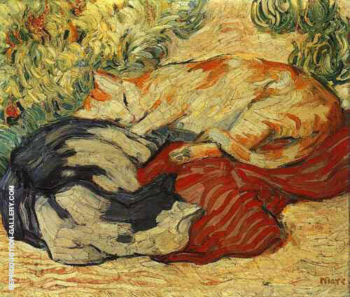 Cats on a Red Cloth 1909 By Franz Marc